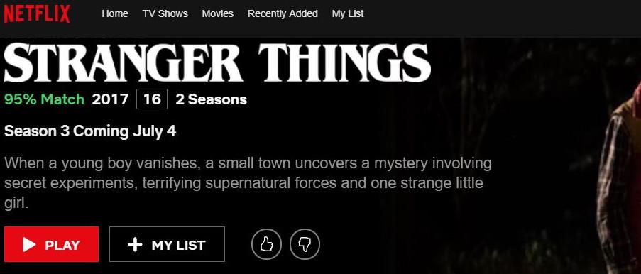 Beispiel einer Daumenbewertung Netflix