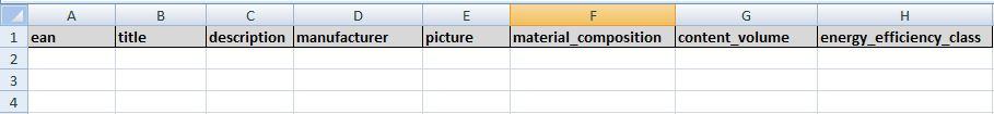 Esctelauszug für die Produktdaten