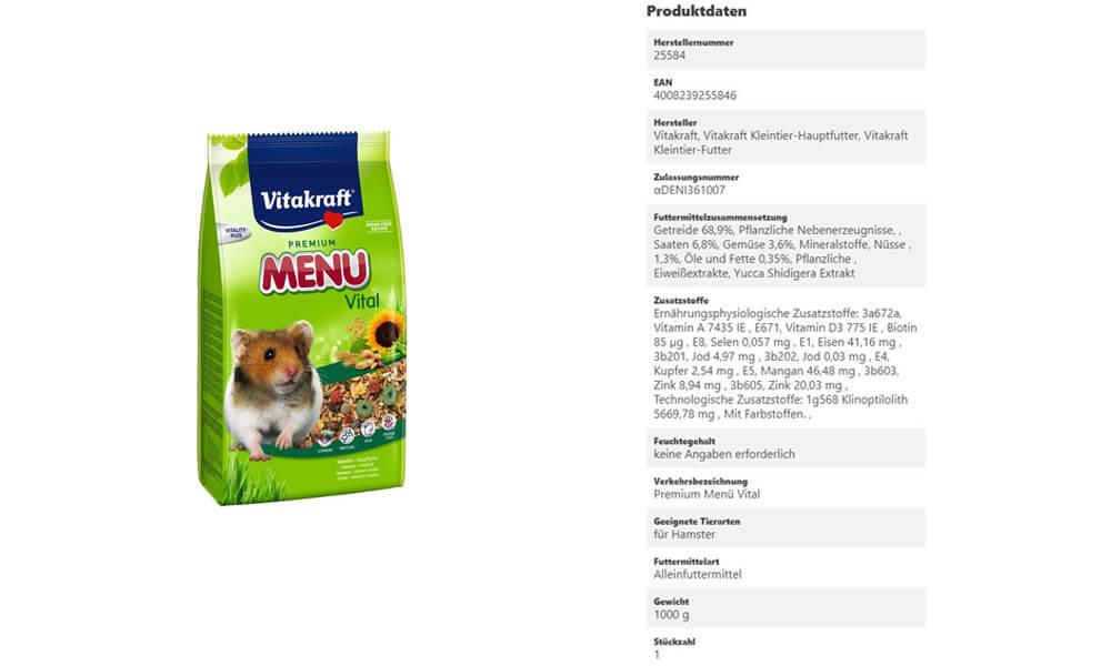 Produktdaten für Hamsterfutter