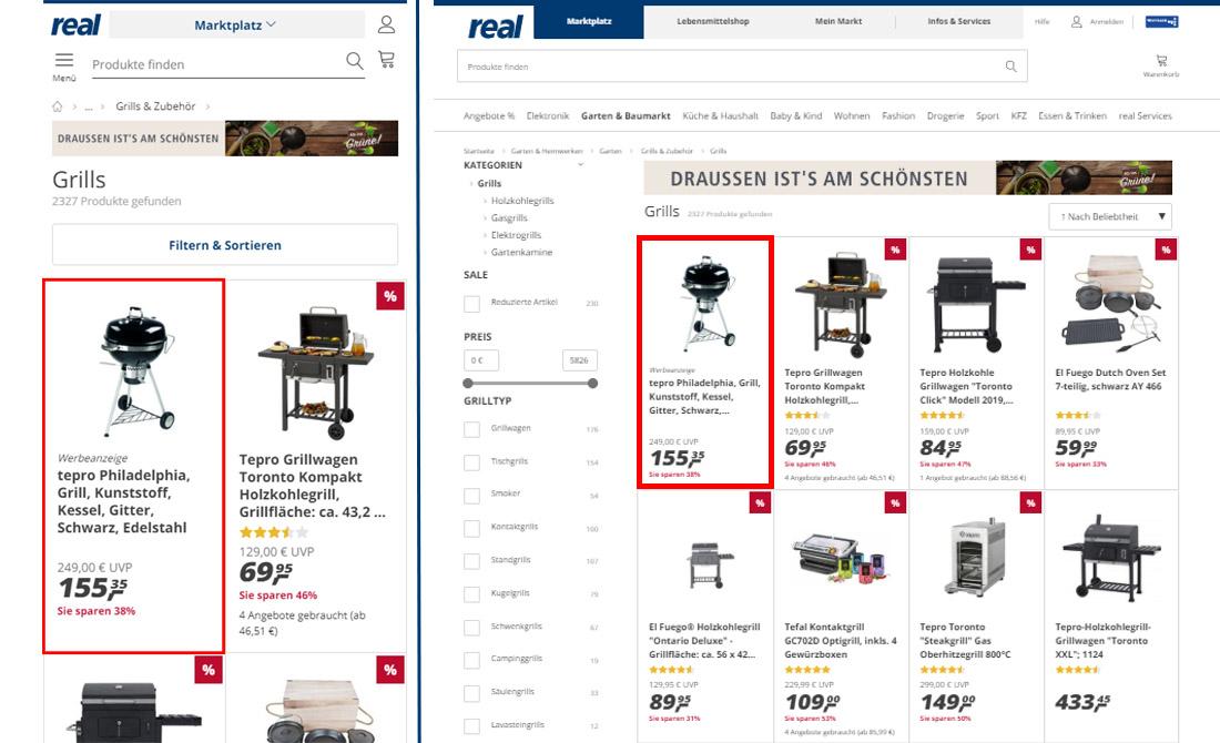 Werbeanzeige auf real.de