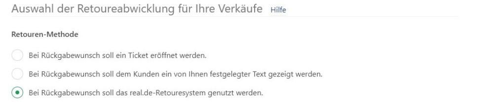 Hier können Sie das Retourensystem von real.de auswählen .